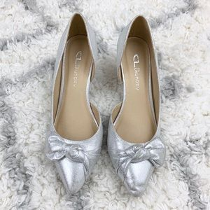 CL by Laundry Silver D'Orsay Bow Heels
